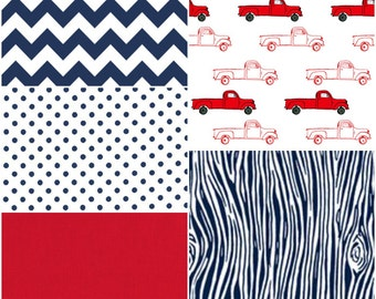 Red Antique Pickup Patchwork Baby Blanket - Navy Blue and Red