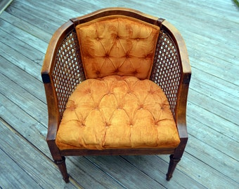 Vintage Mid Century Modern Cane Chair with Orange Tufted Velvet Fabric