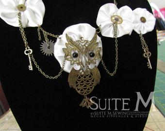 Steampunk Owl Handsewn Fabric Flower Statement Necklace