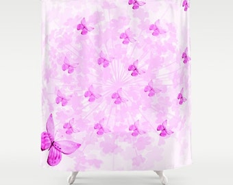 Butterflies and Flowers Pink-Shower Curtain