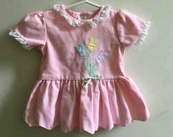 Vintage Babygirl Dress Pink Tulips 18 Months