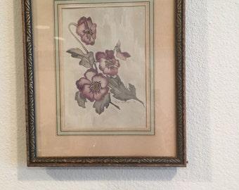 Antique Framed Pansies Watercolor Print 1937