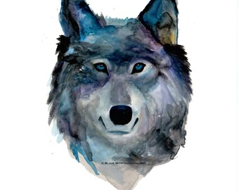 Wolf Face Watercolor Art Print