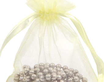 100 Yellow Organza Gift Pouch Wedding Favour Bag Jewellery Pouch- 6 Sizes