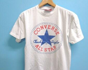 Vintage Converse All Star Chuck Taylor Big Logo Shirt T Shirt Top Tee Skate Punk Rock