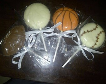 Sports chocolate lollipops