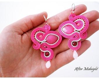 Pink Soutache Earrings, kolczyki sutasz, handmade,soutache jewelry,turquoise, gift, wholsale jewelry