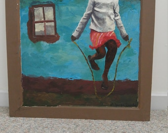"""Painting in Acyrlic on Glass Window Frame """"Jelly Bean"""""""
