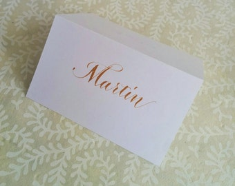 Hand written place cards - made to order - gold ink on white