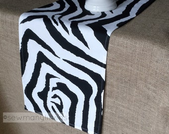 Zebra Print Table Runner Black And White Animal Pattern Safari African Table  Centerpiece Party Decor Jungle