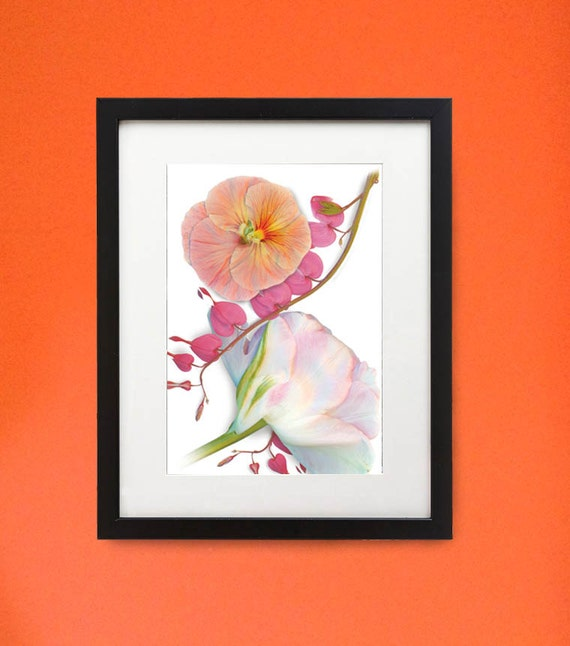 """Framed flower print of Bleeding Heart, Peony and Pansy. 11"""" x 14"""" wood frame. Modern botanicals in unique setting."""