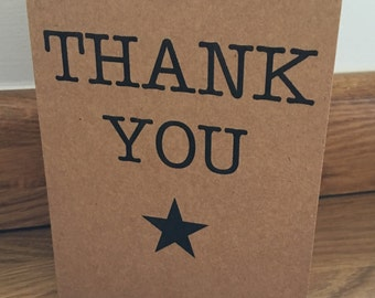 Thank you cards, star, pack of 10, recycled kraft card, vintage rustic style