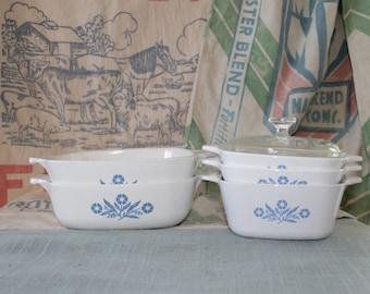 Vintage Corning Ware 5pc. Casserole Set  Blue Cornflower