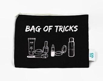 Bag of Tricks Large Makeup Bag   Black Makeup Bag   Funny Makeup Bag   Makeup Bag Quote