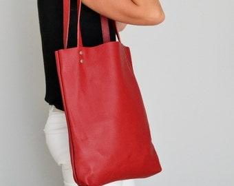 Tote bag, Leather tote bag, Leather tote, Tote bag leather, Leather tote woman, Leather tote, Leather tote - MADRID - Red Tote Bag