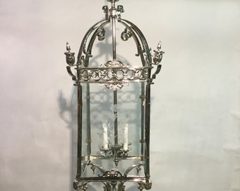 Silver Plated French Lanten with Design Etched Galss Panels