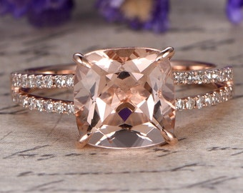 Morganite engagement ring with diamond,Solid 14k Rose gold,promise ring,bridal,8x8mm Cushion custom made fine jewelry,Prong set