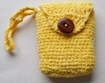 Small yellow cotton chenille crochet bag with large button closure