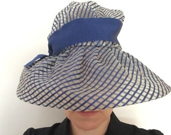 Blue stripped transparent net hat