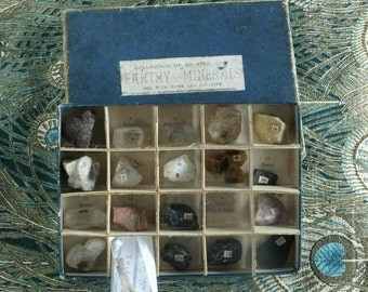"""Geological Samples, Victorian petrologist teaching aid """"Earthy Minerals"""""""
