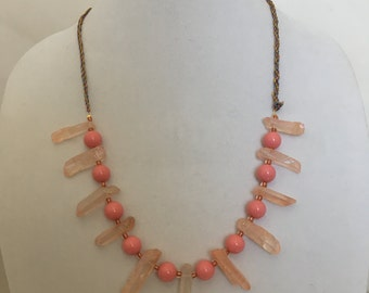 Peach Necklace, Pink Necklace, Kumihimo Necklace, Peach and Pink Necklace, Everyday Bead Necklace