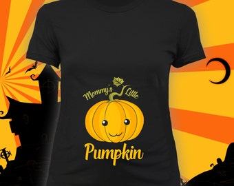 Mommy's Little Pumpkin maternity tee -maternity halloween t-shirt, pregnancy halloween shirt, maternity costume, expecting mother - CCB-272