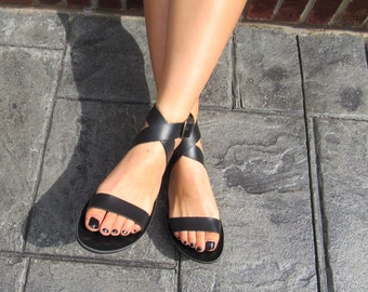 "Stylish Black Greek Leather Women's Sandals, ""MAMBA"""