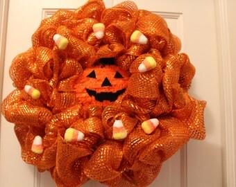 Trick or Treak Jack O'Lantern Wreath
