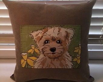 Tan cushion with cute biege puppy 45cmx45cm