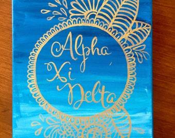 Alpha Xi Delta Sorority Canvas Custom