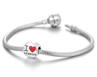 I love London Charm - 925 Sterling Silver Bead - Personalised Gift - Gift Packaging available - Birthday Gift - Wedding Gift