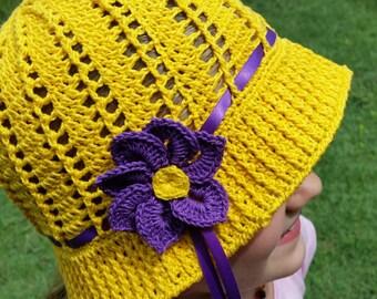 Girls Yellow Crocheted Hat