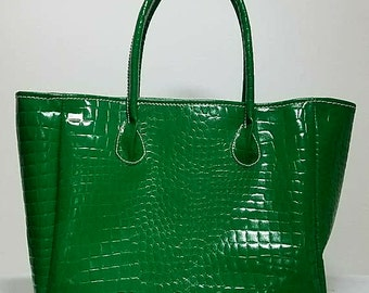 Handmade Crocodile Embossed Handbag