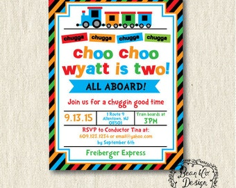 Choo Choo Birthday Party Invitation, printable, digital, train, boy, birthday, two