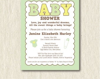 Gender neutral baby shower invitation, printable, digital, green and yellow