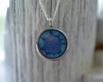 Silver Cobalt Blue Pendant Necklace