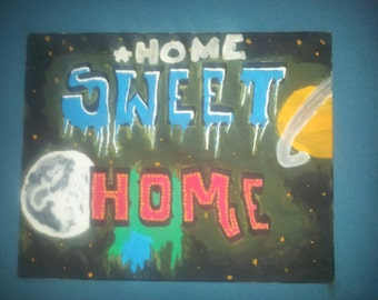 """Acrylic s. brass, """"Home sweet home"""" on canvas 40x50cm"""