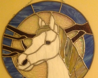 White horse stained glass