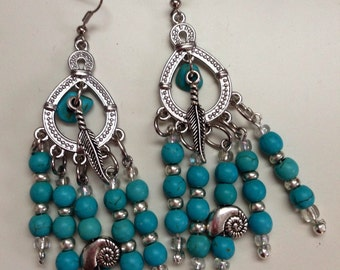 Shell and Feather Turquois Dangling Earrings
