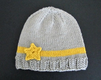 Star Baby Hat - baby boy, baby girl, soft cotton blend, 3 - 6 months, silver grey, yellow star, hand knitted, baby shower, gift.