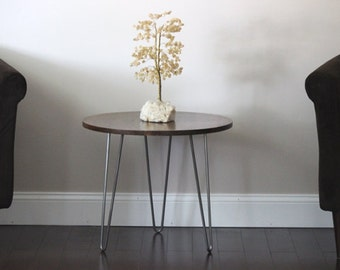 Wood end table with hairpin legs, rustic entry table, round side table, wedding gift last name establish, coffee table, wood plant stand