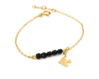 "PRICE reduced-Bracelet ""charm"", gold plated 24 k pearls and bird, refined/romantic/modern/french/celebration of mothers"