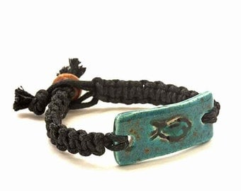 Dark Macrame Bracelet Combined With Turquoise Ceramic