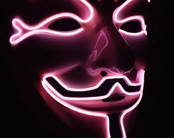 Pink LED Vendetta Anonymous Light Up Rave Mask for DJ, Edc, Ultra, Music Festival, Concerts, Clubs, EDM