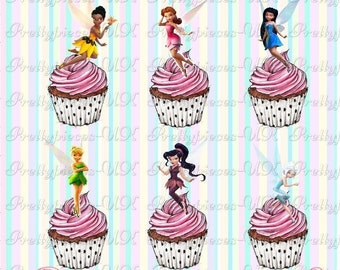 24 x Tinkerbell & Friends Fairies Stand-Up Pre-Cut Wafer Paper Cupcake Toppers