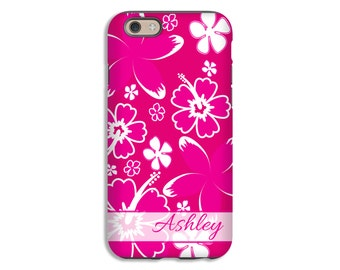 Monogram iPhone 7 case, hawaiian flowers iPhone 7 Plus case, iphone SE/6s/6s Plus/6/6 Plus/5s/5 cases, personalized iphone cases
