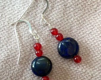 Lapis Lazuli and Red Agate Sterling Silver Earrings