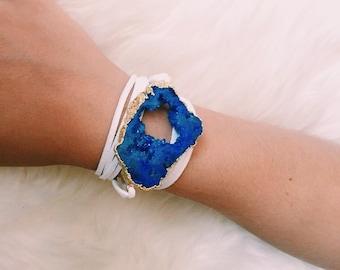 drusy wrap bracelet   royal on white