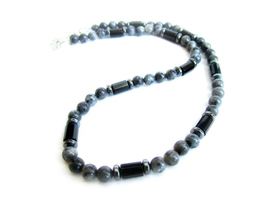 Mens larvikite necklace mens gemstone beaded necklace black