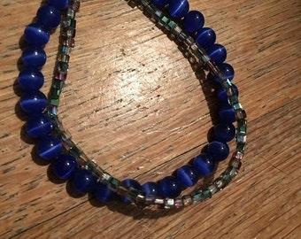 Double Strand Blue and Iridescent Bracelet